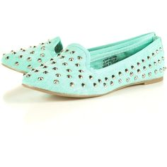 VECTRA4 Canvas Studded Slippers ($56) found on Polyvore