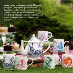 Whittard of Chelsea fine bone china Alice in Wonderland range - such a fabulous way to make your tea party stand out - mad hatter for me. Whittard Of Chelsea, Chesire Cat, Alice In Wonderland Tea Party, Mad Hatter Tea, Mad Hatters, Cuppa Tea, Teapots And Cups, My Cup Of Tea, Moka