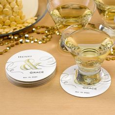100 Personalized Round Wedding Reception Bar Coasters White Black & Gold Foil
