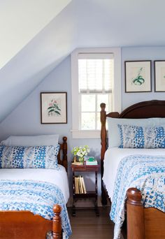 Maximize every last inch of a bedroom by placing a queen-size bed right alongside an antique twin bed (which rests lower to the ground than modern-day versions).
