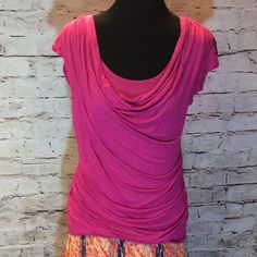 ❌JUST REDUCED ❌SZ M ANN TAYLOR BLOUSE Pretty pink stretchy blouse with a draped neckline and an insert to look like a tank underneath. Flattering fit and gently used. T-1 LOFT Tops Blouses