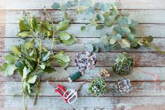 Materials: For a 4' garland: 5 to 8 succulents ranging in size and color 4 stems of ivy 4 stems of eucalyptus Pruners (for larger stems) Floral snips or scissors (for delicate stems) Paddle wire (medium gauge) #refinery29 http://www.refinery29.com/46517#slide-8
