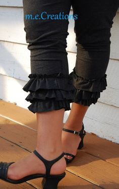 Items similar to Ladies Crop Length Layers of Ruffles Leggings-- Black, Charcoal Gray on Etsy Navy And Brown, Black And Grey, Gray, Tops For Leggings, Black Leggings, Ruffle Pants, Thats The Way, Sewing Clothes, Ruffles