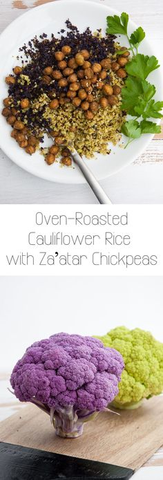 Oven-Roasted Cauliflower Rice with Za'atar Chickpeas via /elephantasticv/