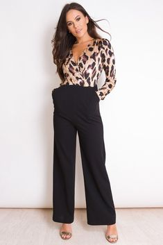 4c753aed Trouser Outfits, Dressy Outfits, Neck Wrap, Wide Leg Trousers, Jumpsuits  For Women