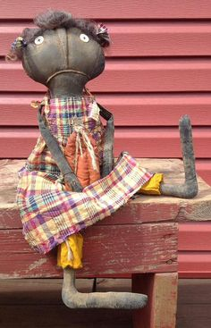 Primitive Stuffed Doll Lavinia by BeaverBoutiquePrim on Etsy