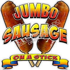"""14"""" Jumbo Sausage on a Stick Decal * Concession Food Truck Hot Dog Cart Sign #SolidVisionStudio"""