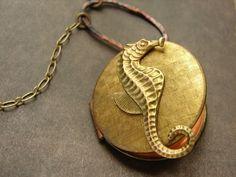 Vintage Seahorse Locket Necklace vintage locket by soradesigns