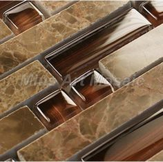 Image detail for -tile/ brown color Strip crystal mosaic tile & marble mosaic tile ...