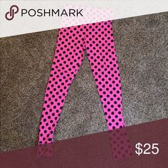 Victoria's Secret PINK polka dot leggings Black and pink polka dots; can be worn working out, for sleep, or just running errands. Very soft! Worn twice. Victoria's Secret Pants Leggings