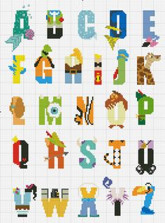 Disney Character Alphabet Counted Cross Stitch - INSTANT DOWNLOAD by StitchandaSong on Etsy https://www.etsy.com/listing/280885712/disney-character-alphabet-counted-cross