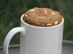 One Minute Flax Muffin - I used 1/4 c flax meal, 1/2 tsp baking powder, 1 egg, 2 tsp butter. Mix in mug, zap for 50-60 sec. Yum. Can add cinnamon, sweetener, cocoa, pumpkin, endless varieties.