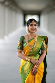 Happiness Never Ends From Bride. Bridal Sarees South Indian, Indian Bridal Outfits, Indian Sarees, Tamil Wedding, Saree Wedding, Wedding Bride, Yellow Saree Silk, Vithya Hair And Makeup, Makeup Hairstyle