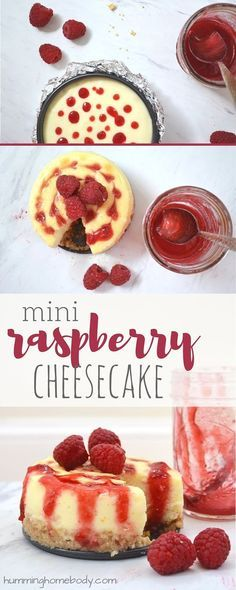 Delicious raspberry swirl cheesecake recipe that can be made as mini cheesecakes or as a full size raspberry cheesecake. Includes recipe for homemade raspberry topping to serve with the mini cheesecakes.