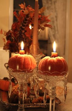 Crystal candlesticks topped with mini pumpkins filled with candles elegant Halloween decor. This can transition from Halloween to Thanksgiving. Swap the pumpkins for apples and take it through Christmas. Favorite Holiday, Holiday Fun, Holiday Decor, Family Holiday, Holiday Ideas, Fruits Decoration, Table Decorations, Pumpkin Decorations, Halloween Decorations