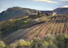 La Vierge Winery by Christopher Reid Grape Vines, Painting & Drawing, Vineyard, Country Roads, Firefighters, Mountains, Wall Art, Grateful, Artwork