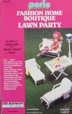 """PERLE Fashion Home Boutique LAWN PARTY Playset For BARBIE, MAXIE & 11.5"""" Fashion Dolls (Circa 1987? FRANCE) by Delavennat Productions, made in France. $289.99"""