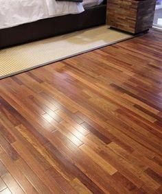 Lyptus hardwood floor. Good contrast!