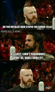 Sheamus and Seth Rollins Wwe Funny Pictures, Wwe Quotes, Fc Barcalona, Funny Wrestling, Funny Watch, Sheamus, Wrestling Superstars, Lol, Seth Rollins