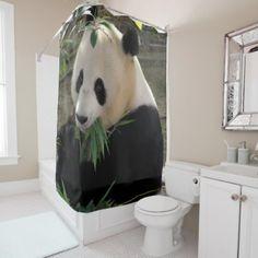 Cute Giant Panda Bear Shower Curtain   Shower Curtains Home Decor Custom  Idea Personalize Bathroom