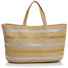 Eric Javits Metallic Sinclair Tote (28.260 RUB) ❤ liked on Polyvore featuring bags, handbags, tote bags, metallic tote, striped tote bag, shopper tote, striped totes and lightweight tote handbags