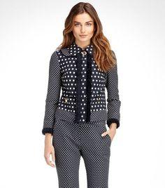Leonora Jacquard Dot Jacket | Womens Sale | ToryBurch.com