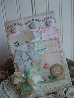 shabby chic GIFT CARD enclosure roses postcard banner SWEET birthday wishes stitched handmade card. $8.50, via Etsy.