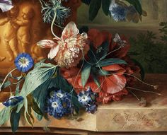 Jan van Huysum 1724 'Bouquet of Flowers in an Urn'(detail)  Oil on panel by Plum leaves, via Flickr