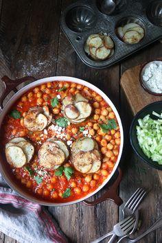 Chickpea Stew with Parmesan Potato Stacks.