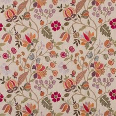 Wilderness Fabric from the Bohemian Romance Collection Mulberry Home. A detailed floral design, embroidered in multi-coloured thread on a linen ground. Textile Patterns, Textile Design, Fabric Design, Print Design, Floral Design, Textiles, Pattern Design, Flowery Wallpaper, Flower Phone Wallpaper