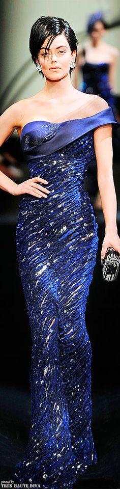 Armani Privé - Sexy woman in royal blue firmal evening dress - #Thejewelryhut