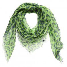 Unisex Green 'Fluro Leopard' Scarf (72cm)