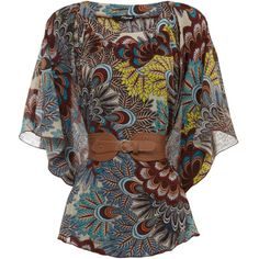 Peacock Paisley Belted Kimono (€21) ❤ liked on Polyvore featuring tops, blouses, shirts, blusas, relax shirt, peacock feather shirt, kimono top, kimono blouse and paisley shirt