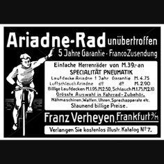 Franz Verheyen, Frankfurt - Ariadne-Rad · unübertroffen · 5 Jahre Garantie · Einfache Herrenräder (Preis: von M. 39,-- an) · SPECIALITÄT PNE...