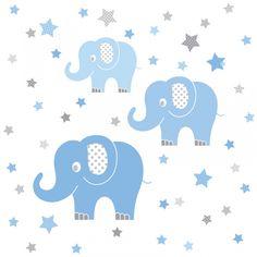 Wandsticker Elefanten blau/grau 48-teilig