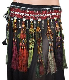 Afghani Tribal Belt with Long Silk Tassels