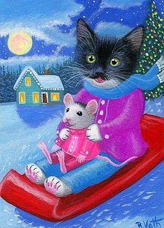 Tuxedo kitten cat mouse sledding snow moon Christmas original aceo painting art in Arte, Direto do artista, Pinturas Christmas Animals, Christmas Cats, Christmas And New Year, Tuxedo Kitten, Hello Kitty Christmas, Winter Cat, Image Chat, Cat Mouse, Cat Cards