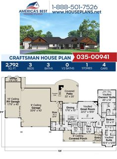 Created in the Craftsman style, Plan 035-00941 is highlighted by 2,792 sq. ft., 3 bedrooms, 3 bathrooms, kitchen island, a vaulted master suite and exclusive garage features such as an RV bay & a workshop.
