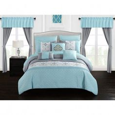 Chic Home Herta 20 Piece Bed in a Bag Color Block Floral Embroidered Comforter Set (Queen), Blue Chic Home, Comforters, Bed In A Bag, Online Bedding Stores, Bedroom Decor, Comforter Sets, Home, Bedding Stores, Bedding Sets