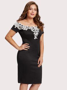 c3cda5ac980 Off Shoulder Lace Applique Trim Dress -SheIn(Sheinside) Shoulder Sleeve