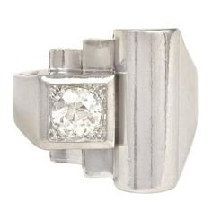 Art Deco Diamond Platinum Ring | From a unique collection of vintage more rings at https://www.1stdibs.com/jewelry/rings/more-rings/