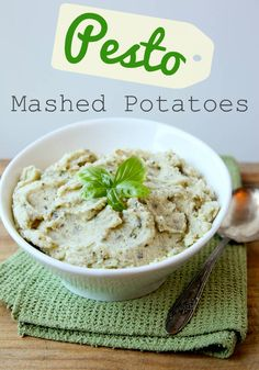 "Want to give your side dish an Italian flair?  Try these ""Pesto Mashed Potatoes!"""