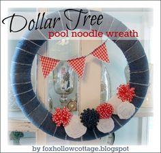 dollar tree pool noodle wreath