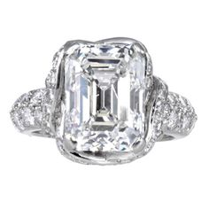 Schlumberger Tiffany & Co 6.67ct Emerald Cut Diamond Ring | From a unique collection of vintage engagement rings at http://www.1stdibs.com/jewelry/rings/engagement-rings/