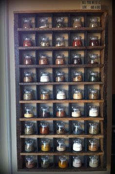Spend a small fortune in jars, but WOW! Pallet and Reclaimed Wood Spice Rack