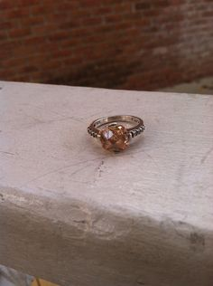 Vintage Sterling Silver Champagne Stone Stackable Ring Size 6 on Etsy, $14.00