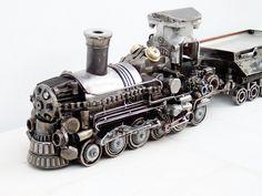 Train Artwork Handmade Sculptures For Sale, Art Sculptures, Modern Art Sculpture, Ups Shipping, Gas Turbine, Rapid Transit, Train Art, Light Rail, Handmade Art