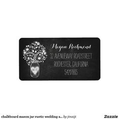 chalkboard mason jar rustic wedding address labels