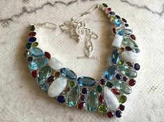 Multi Color Glass Necklace/Silver Statement by FootSoles on Etsy