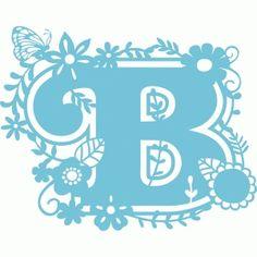 Silhouette Design Store - View Design secret garden b Monogram Alphabet, Alphabet And Numbers, Monogram Fonts, Quilling Patterns, Stencil Patterns, Silhouette Curio, Silhouette Design, Letter Stencils, Printing Labels